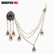 SUNSPICEMS-pendientes de joyería india para mujer, tocado de enlace, aretes de borla de perla de oro antiguo con cadena larga de Sahara