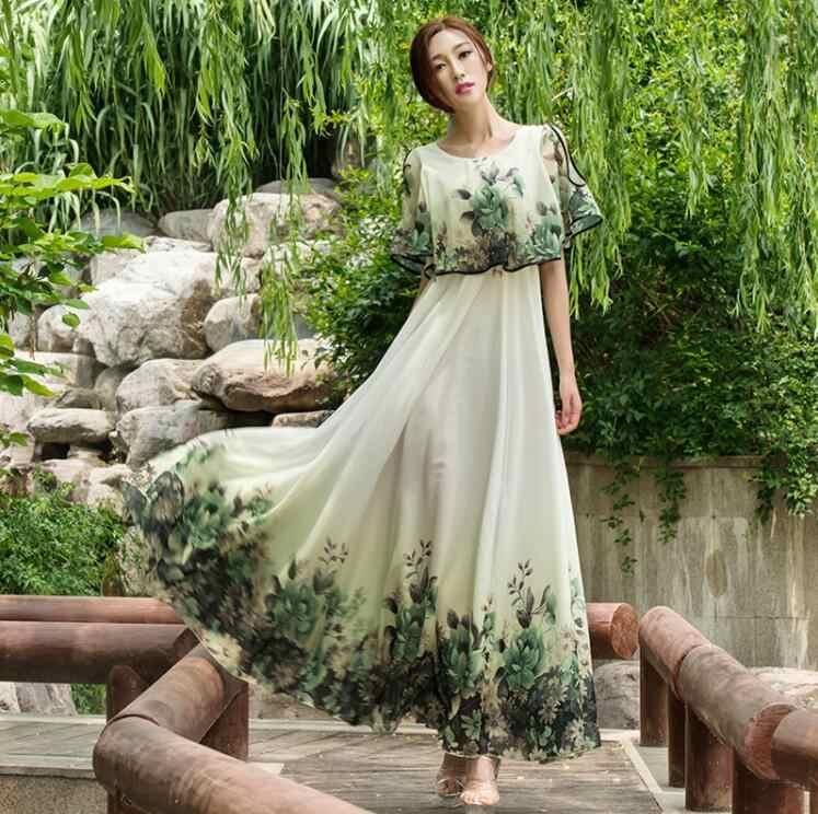 Новинка; летнее шифоновое платье лолиты в богемном стиле; свободное женское платье; пляжное длинное винтажное повседневное богемное платье без бретелек с цветочным принтом в богемном стиле