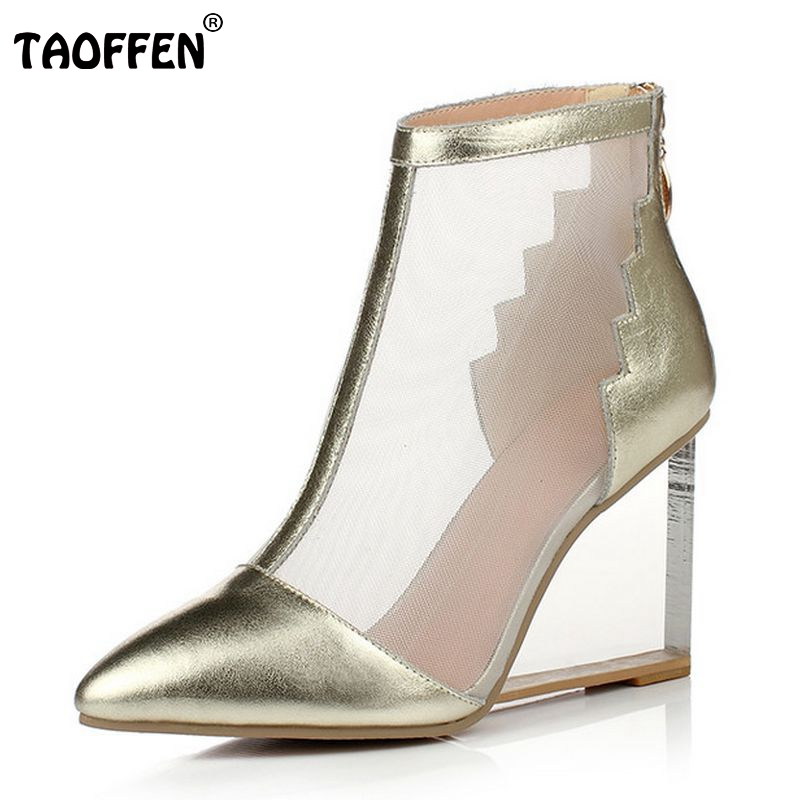 women real genuine leather wedge shoes sexy brand fashion see through pointed toe heels fashion pumps shoes size 33-41 R08694 nayiduyun women genuine leather wedge high heel pumps platform creepers round toe slip on casual shoes boots wedge sneakers