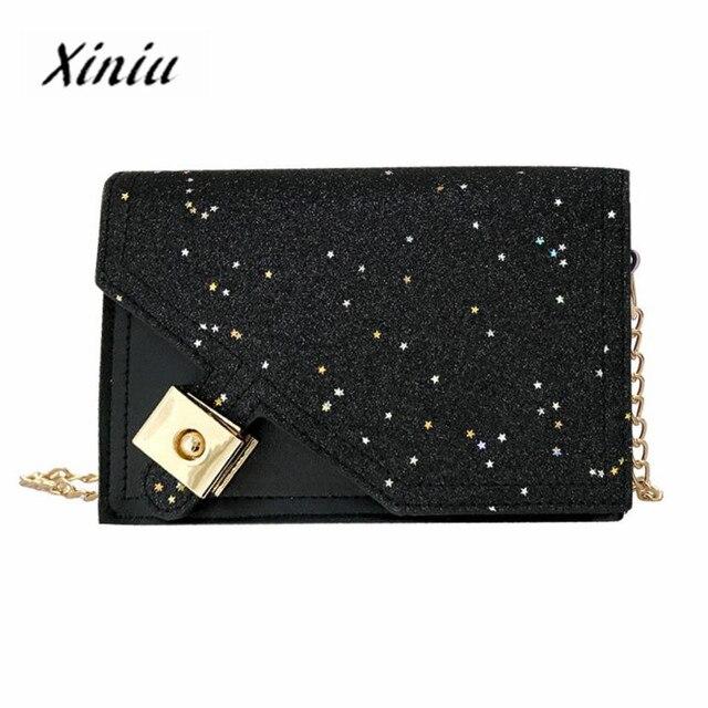 Genuine Xiniu Women s handbags crossbody bags Creative Fashion Stars  Sequins Padlock Shoulder Bag chain bolsa feminina 3G 71481fb8c4270