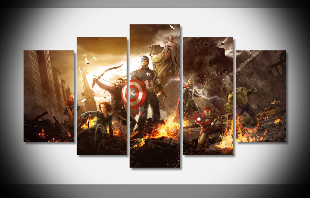 8077 Iron Man Hulk Thor Black Widow Hawkeye Captain America Spiderman The Avengers movies poster Framed Gallery wrap art print