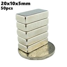 Super Powerful Neodymium Magnets 20x10x5mm N35 Rare Earth NdFeB 50pcs 20x10x5 Iman Strong Magnetic Block Magnet Bar