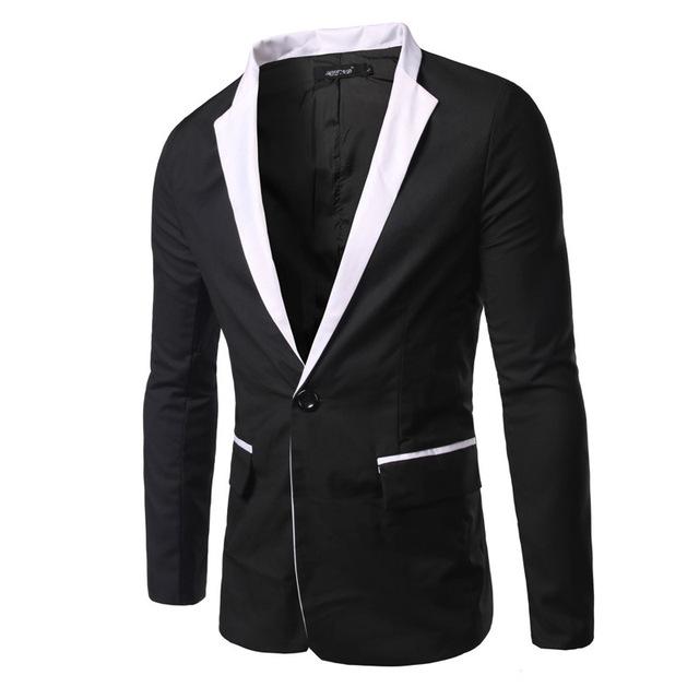Nueva Llegada de Los Hombres de Traje de Moda Casual Diseño de Manga Larga Slim fit Trajes Botón Traje Masculino Abrigo Chaqueta Blanco y Negro