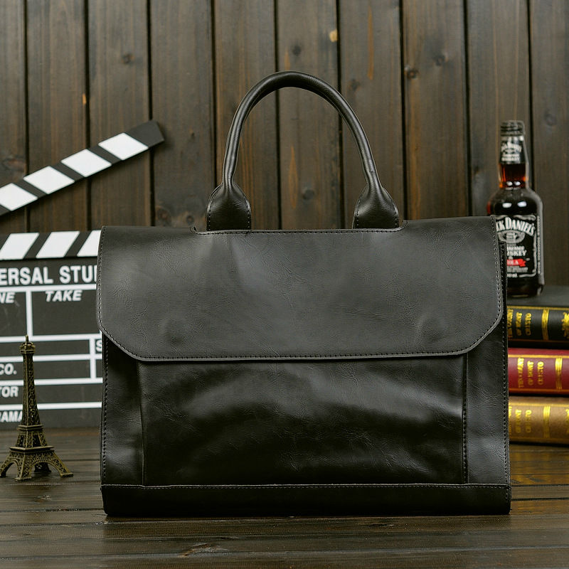 Laptop Handbag Briefcase Shoulder-Bag Messenger Casual Men Pu High-Quality