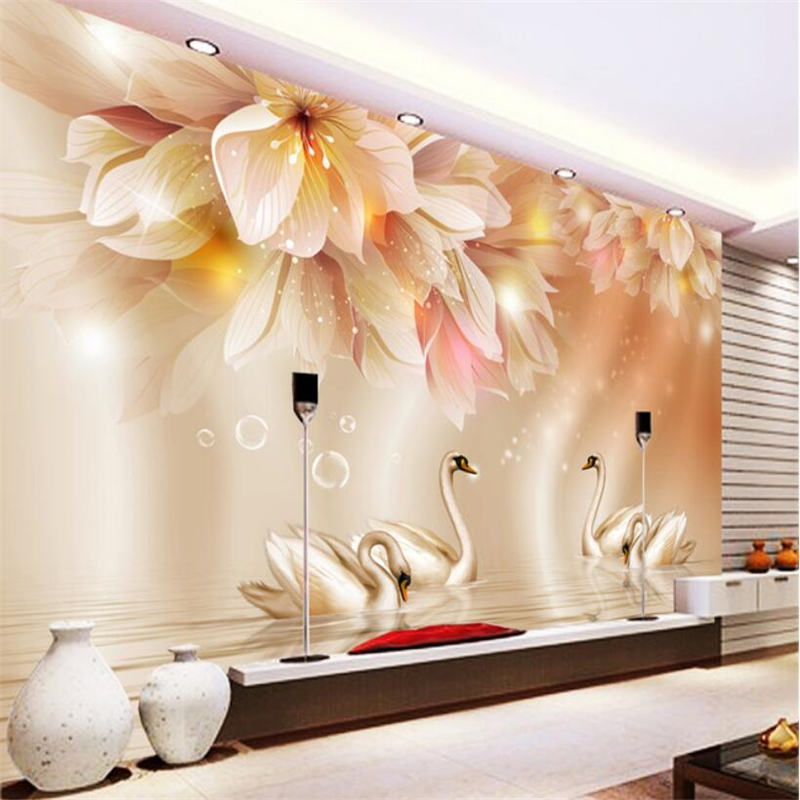 Beibehang 3D Wallpaper Fashion Flower Swan 3D TV Backdrop Living Room Bedroom Background Mural photo wallpaper for walls 3 d pink romantic sakura reflection large mural wallpaper living room bedroom wallpaper painting tv backdrop 3d wallpaper