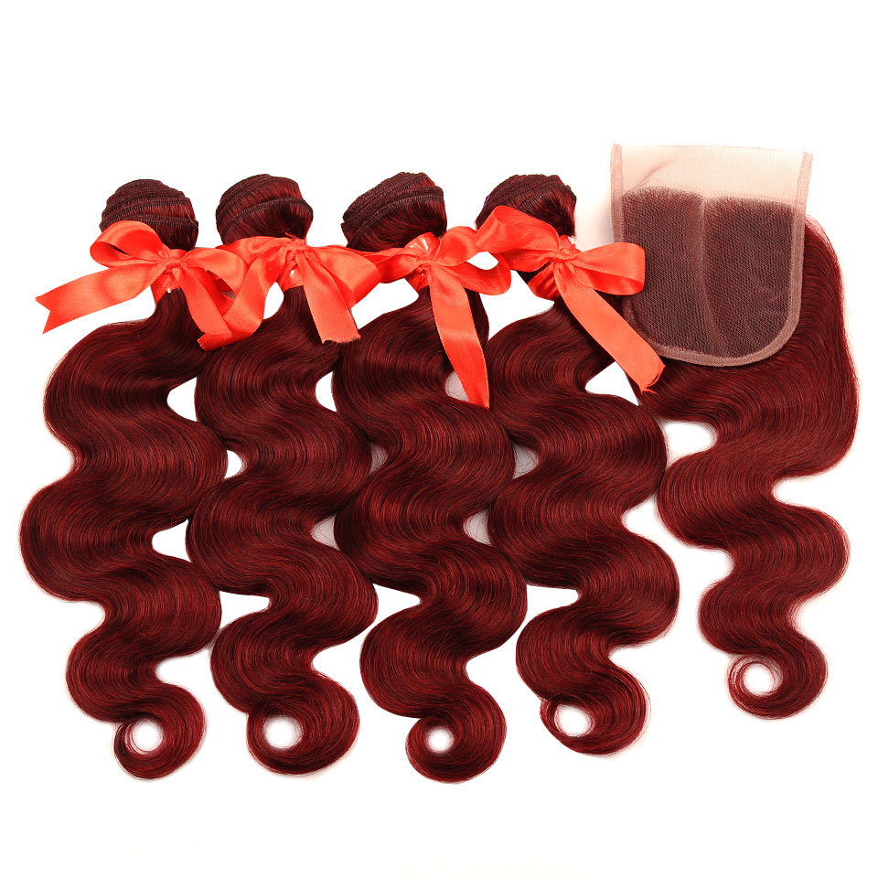 Pinshair rojo 99J pelo peruano onda del cuerpo 4 paquetes con cierre Borgoña  barato cabello humano paquetes con cierre No Remy No cobertizo Pinshair  rojo ... c17f7374e267