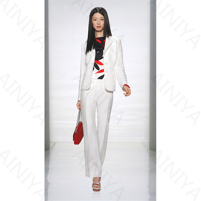 Winter White font b Women b font Business Suits With Pants font b Jacket b font