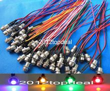 10 100pcs 5mm 12V colorful pre wired LED Metal Indicator Pilot Dash Light Lamp Wire Leads