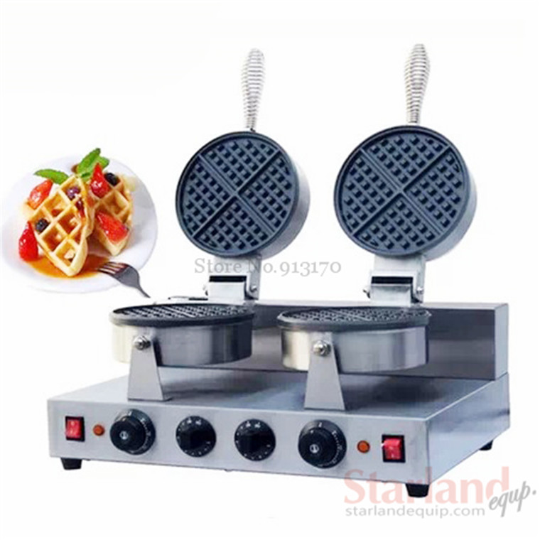 Commercial Snack food Machine Waffle Maker American Style Stainless Steel with Non-stick Waffle Pan 3 head 304 stainless steel french fry holder creative restaurant and bar snack snack ktv for food display stand