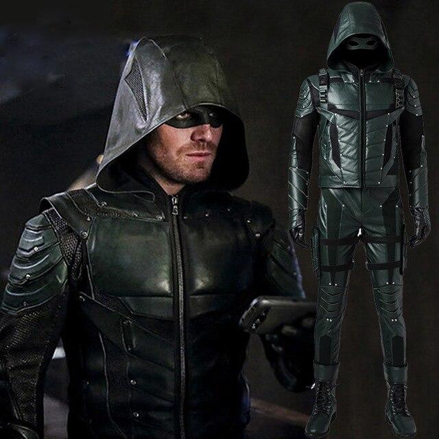Flèche verte saison 5 Costume Cosplay super-héros Oliver reine flèche verte costume en cuir adulte hommes carnaval costumes d'halloween