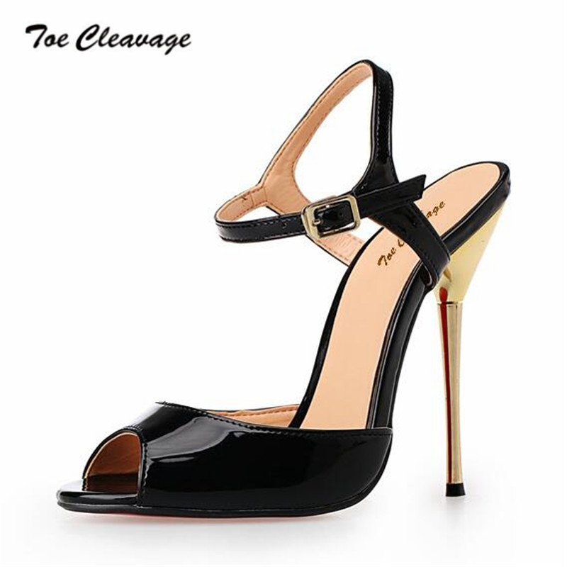 Toe Cleavage stilettos Sandals Summer shoes woman sexy 14cm Metal Thin High Heeled Crossdresser Buckle Pumps