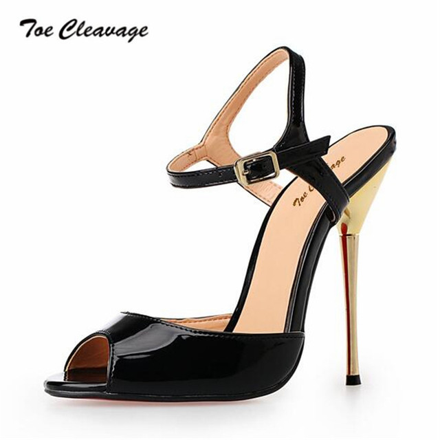 e7ec901992 Toe Cleavage stilettos Sandals Summer shoes woman sexy 14cm Metal Thin High-Heeled  Crossdresser Buckle Pumps Plus:46 47 48 49 50