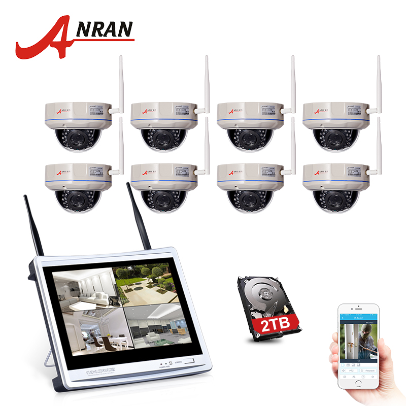 ANRAN 8CH 1080P HD 12 LCD NVR Kit CCTV Security Camera System IR Night Vision Dome IP WIFI Security Camera Surveillance System free shipping 700tvl 8ch hd ir cctv security camera system security outdoor waterproof camera security surveillance system kit