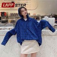 LAPPSTER Oversized Plaid Shirts Women 2019 Blouse Women Korean Fashion Streetwear Hooded Tops And Blouses Couple Harajuku Blouse