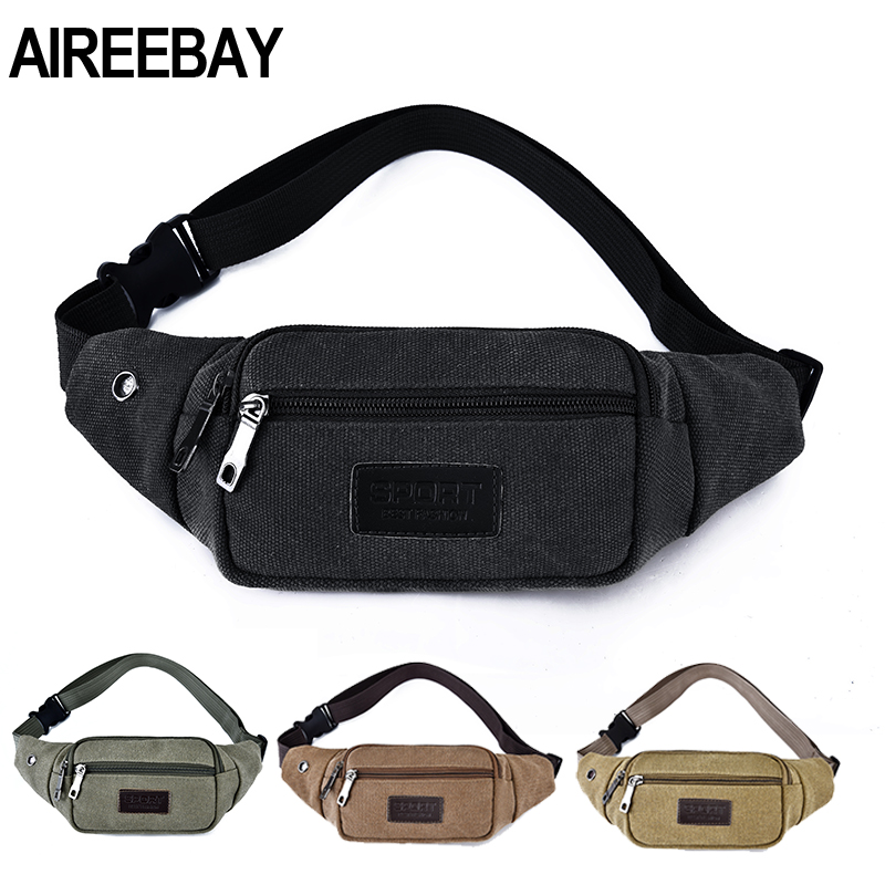 AIREEBAY Fanny Pack For Women Men Waist Bag Unisex Canvas Waist Bag Belt Bag Zipper Phone Pouch 110cm Belt Length Factory OEM