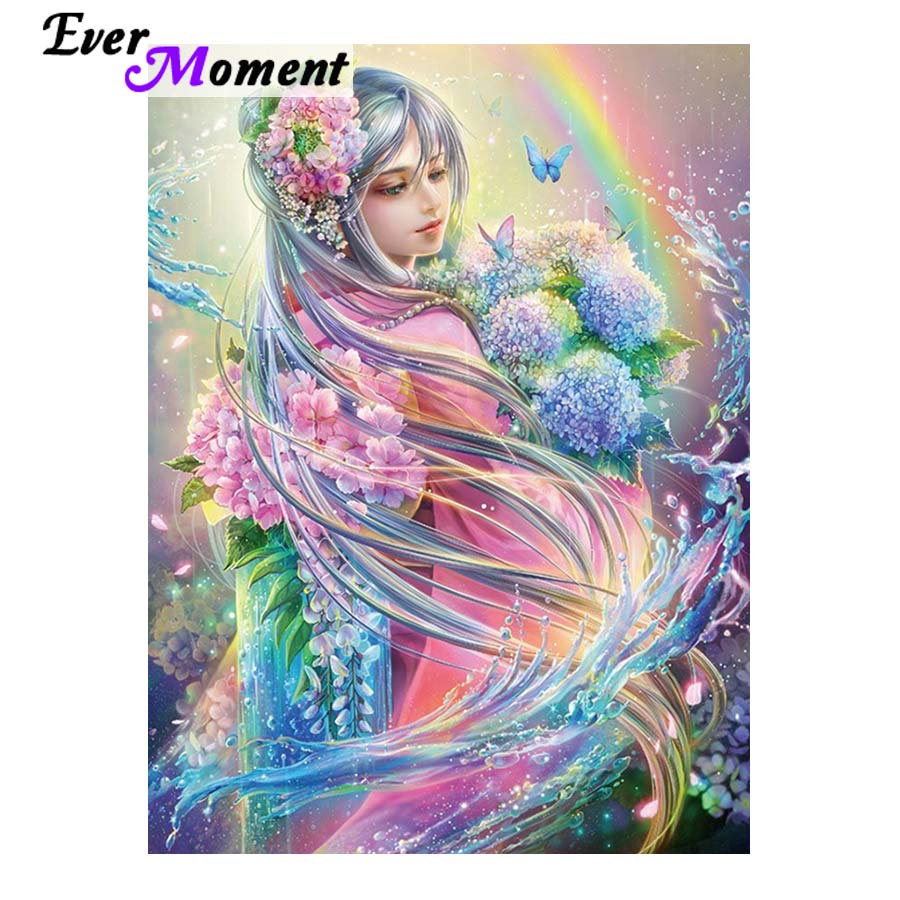 Ever Moment DIY Diamond Painting Beautiful Flower Girl Butterfly Rainbow Water Full Square Drills Mosaic Craft Picture ASF1018-in Diamond Painting Cross Stitch from Home & Garden    1