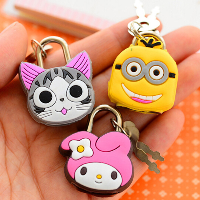 5pcs Mini Cartoon Stationery Lock Kid Children Gifts Prize Free Shipping Lovely Security Lock With Key School Office Supplies