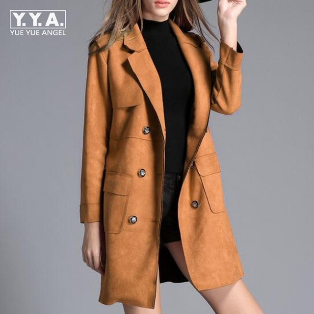 8d238a8b5e2 US $74.17 14% OFF|Top Quality Brand Womens Slim Fit Suede Leather Long  Jacket Female Double Breasted Trench Coat Lepal Windbreaker Overcoat  Size-in ...