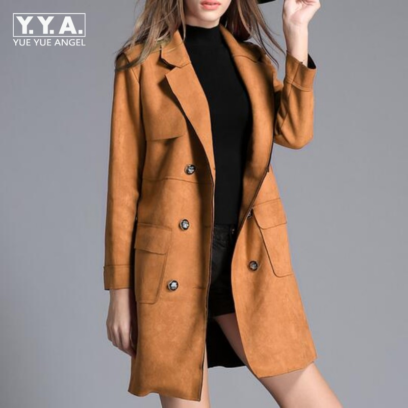 Top Quality Brand Womens Slim Fit   Suede     Leather   Long Jacket Female Double Breasted Trench Coat Lepal Windbreaker Overcoat Size