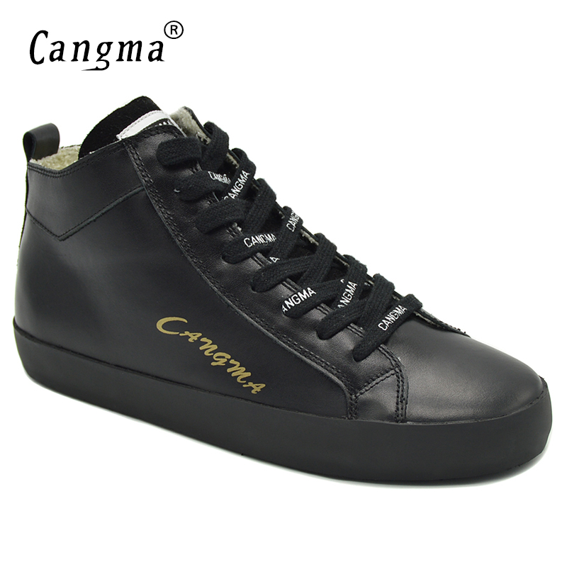 CANGMA Famous Brand Sneakers Women Shoes Mid Ladies Black Casual Shoes Genuine Leather Autumn Lace Up Flats Female Footwear instantarts casual women s flats shoes emoji face puzzle pattern ladies lace up sneakers female lightweight mess fashion flats