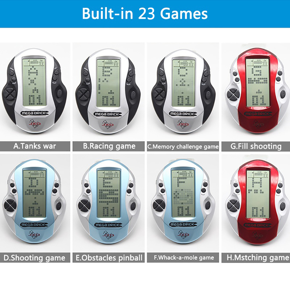 Retro Classic Tetris Handheld Game Console  Childhood Electronic Games Toys LED Game Console built in 26 games