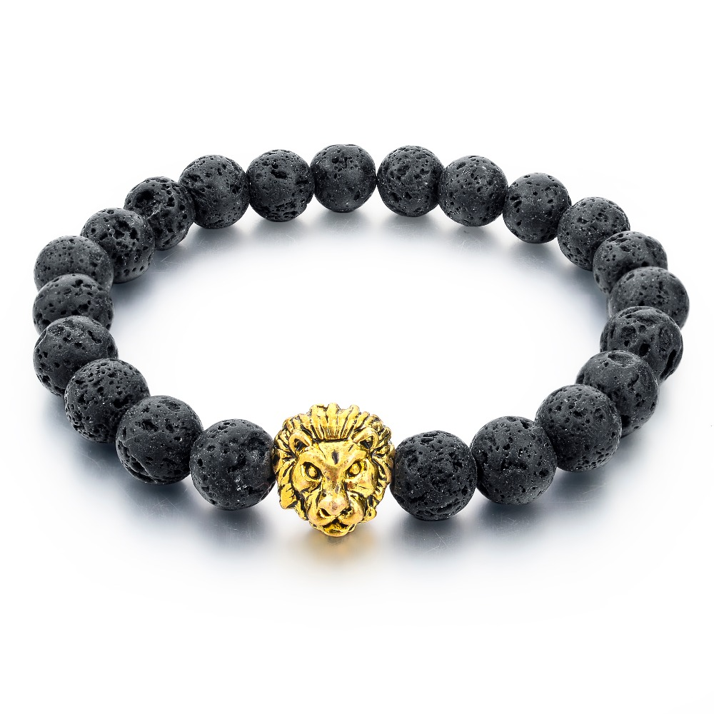 Grey Natural Stone Gold Lion strand Bracelet Femme ethnic handmade Beads Bracelets Turkish Men Jewelry Erkek Bileklik SBR160001
