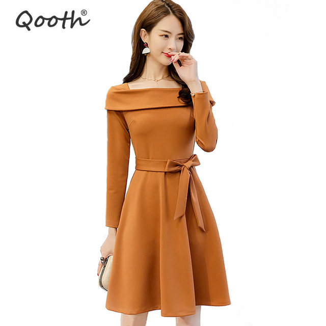 01a3b9615a2 Qooth Spring New arrival Dress Sweet Girl Long Sleeve Square Collar Dresses  With sashes Women s Solid Black Mini Clothes QH1077