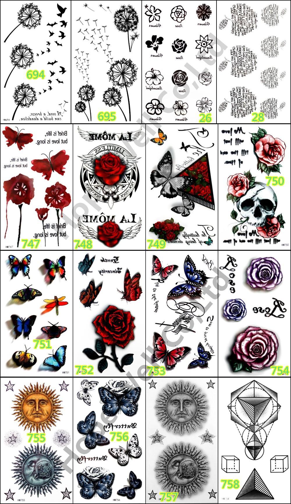5pcs Temporary 3D Tattoo Sticker Colorful Butterfly Rose Tatoo Tatuagem Totem for Women Skin Beauty Beach Body Art 1