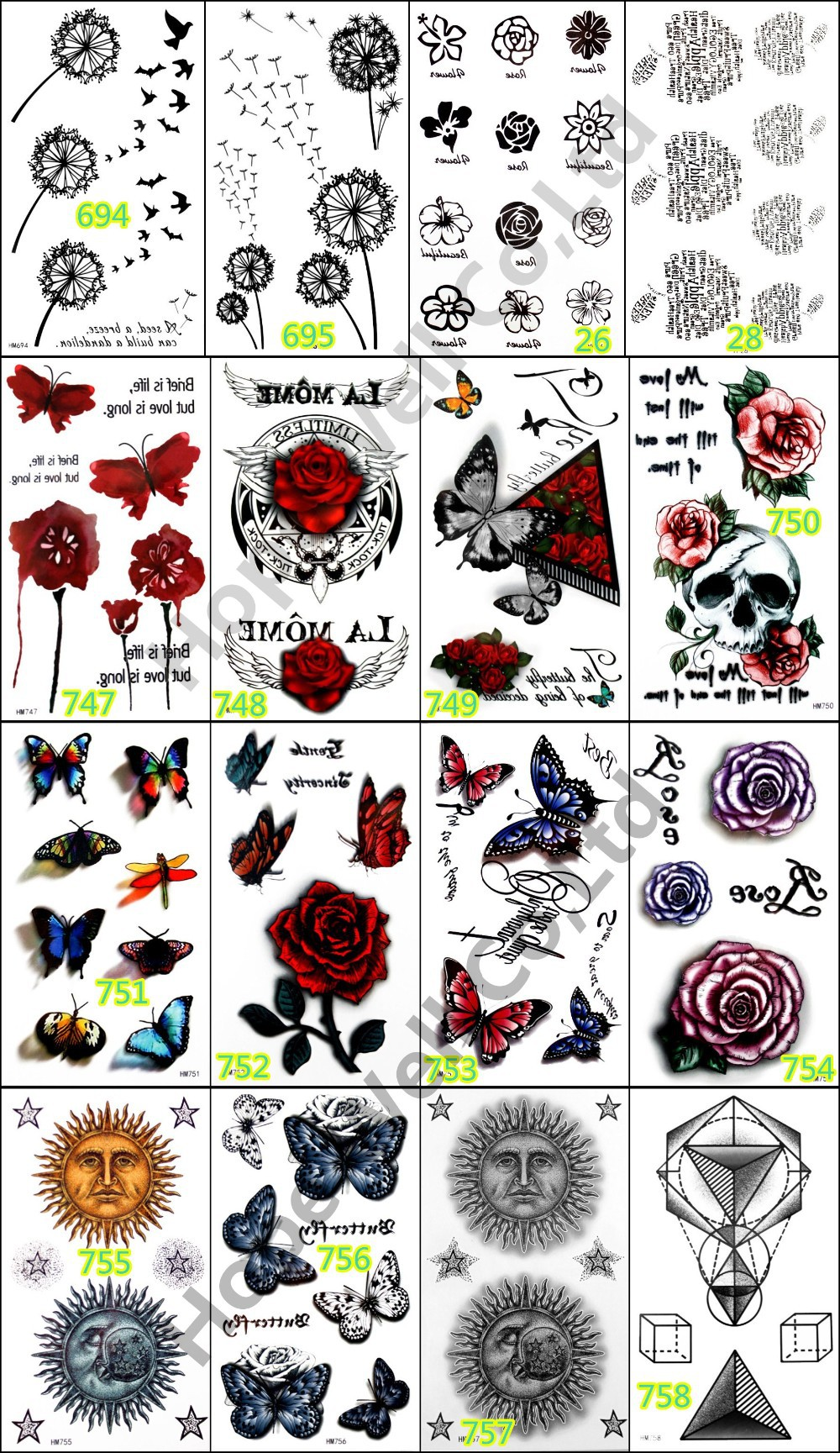 5pcs Temporary 3D Tattoo Sticker Colorful Butterfly Rose Tatoo Tatuagem Totem for Women Skin Beauty Beach Body Art 1