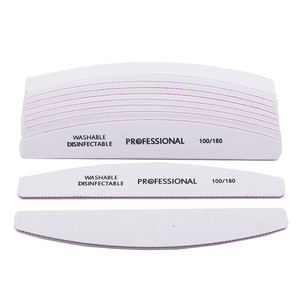 Image 4 - Professional 50pcs/lot White Nail File Sandpaper 100/180 Grits Half Moon Sanding Buffer Blocks Cuticle Remover Nail Beauty Tools