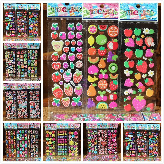 % free shipping 10 Sheets/lot 3D dog cat Bubble Stickers Mixed Cartoon Cars Waterpoof DIY Children Kids Boy Girl Reward Toys