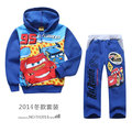 retail Autumn Children Coat Boys Jacket cartoon car blue jackets Outerwear Kids hoodies + pants 2 pces set