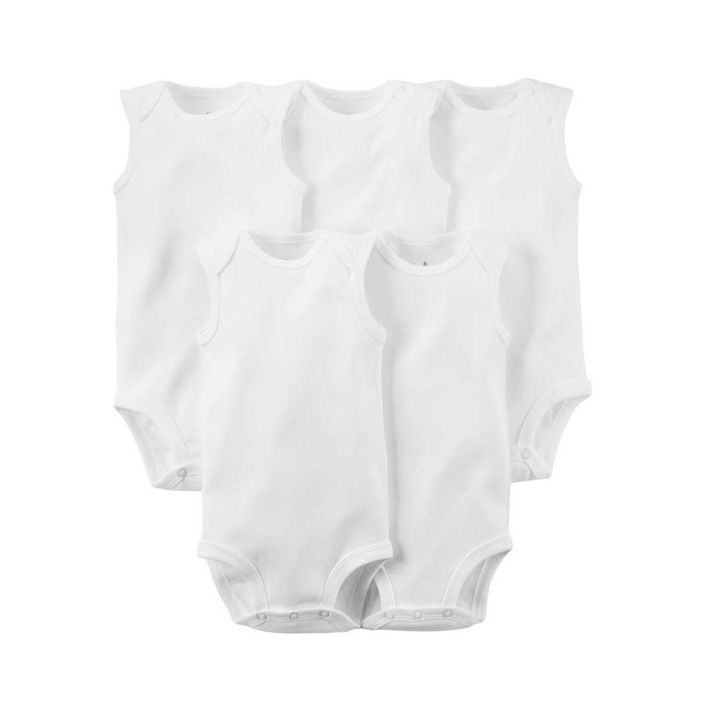 5pcs Set Pure White Cotton Unisex Neutral Sleeveless Baby