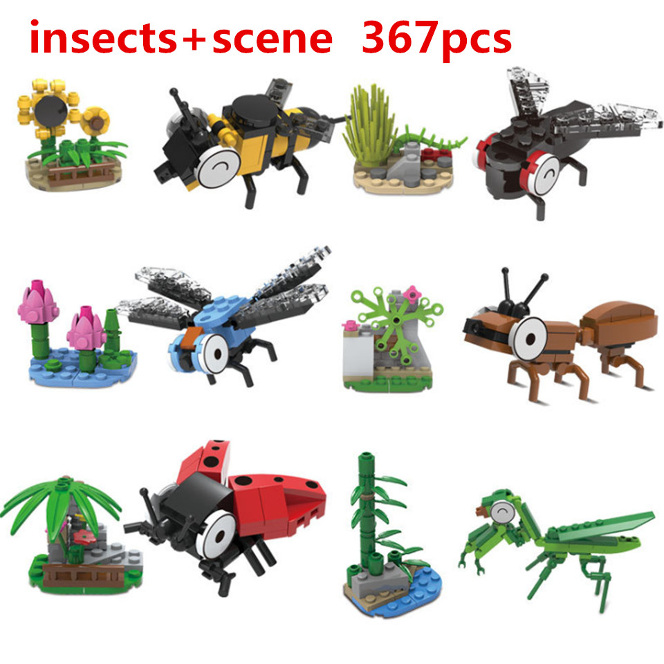 KAZI Animal Insect Series Building Blocks Ladybug Dragonfly Mantis Bee Blocks Set Compatible with Legoings Toys For Children children large plastic 3d butterfly dragonfly beetle insect model interesting science activity toys