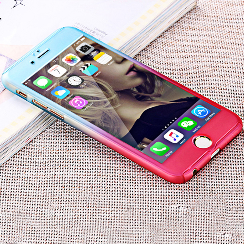 Coque Case For iPhone 6 6s Plus Luxury Hybrid Free Gradient with Tempered Glass 360 Degrees Full protection Phone cover shell