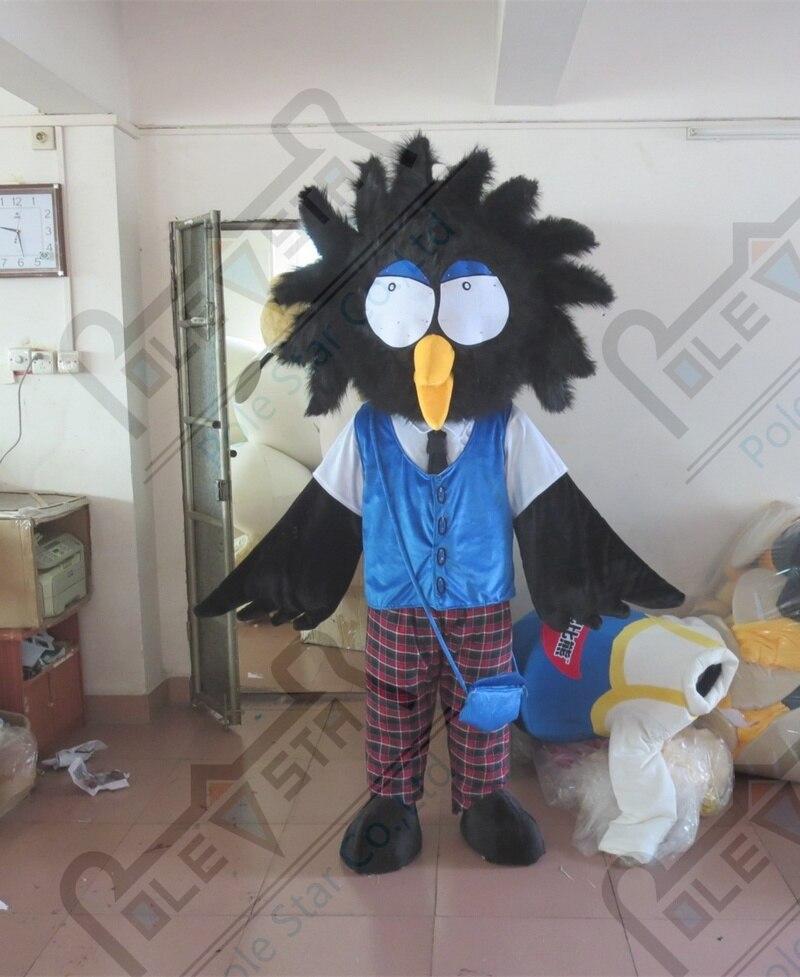 Смешные птицы костюм талисмана мультфильм черная птица костюмы