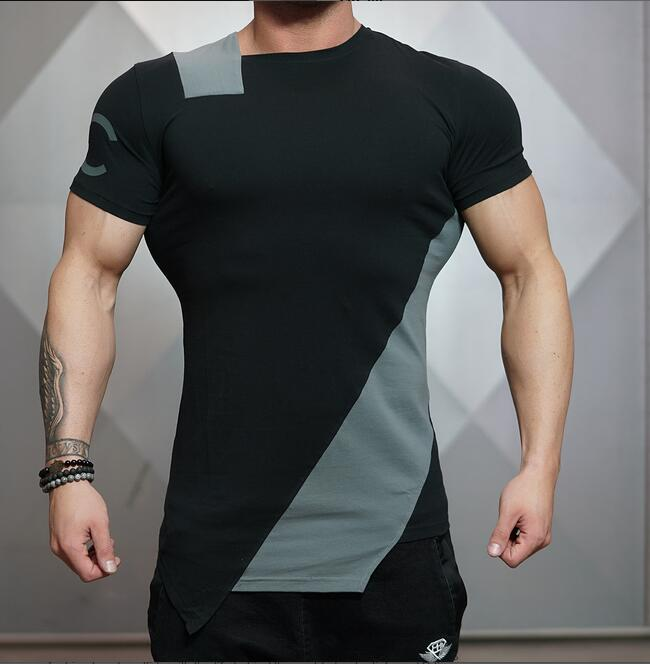 2016 Design Brand T-Shirts Irregular Muscle Men Stringer Clothes Bodybuilding Fitness Tops Tee Shirt For Man