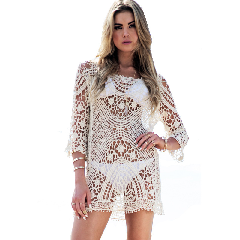 New 2018 Women Sexy Bikini Swimwear Cover Up Beach Dress Lace Shirt Hollow out Backless Jumpsuits Beachwear