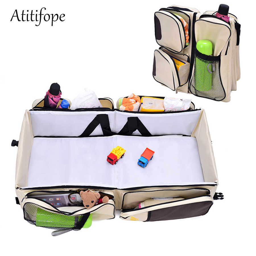 Multifunctional Baby Travel Cot,Portable Diaper Changing Station Mummy Bag Backpack,Foldable Baby Cot Bed 0-12 Months Portable Bassinets for Baby,Travel Crib Infant Sleeper,Baby Nest with Mattress