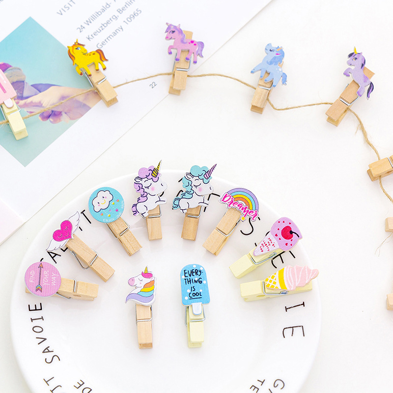 10 Pcs/pack Creative Cloud Unicorn Flamingo Cactus Cat Carrot Wooden Clip Binder Photo Paper Craft DIY Clips With Hemp Rope