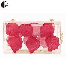 2016 neue Frauen Acryl Klar Stieg Blütenblätter Klappe Damen Handtaschen Ketten Handtaschen Hochzeit Tag Kupplungen Abendtaschen BH531
