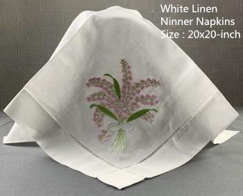 Set Of 12 Fshion Handkerchiefs White Linen Hemstitched Table Napkin 20x20-inch Ladder Embroidery Flower Dinner Napkins