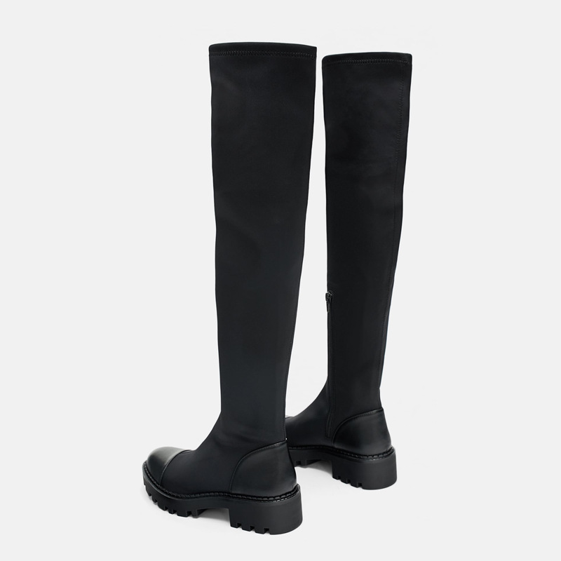 Otoño Patchwork De Chaussure Alta Nueva Negro Elasticidad la Mujer Calzado Mucho Dama Botas Marca Zapatos Rodilla w4d00qI