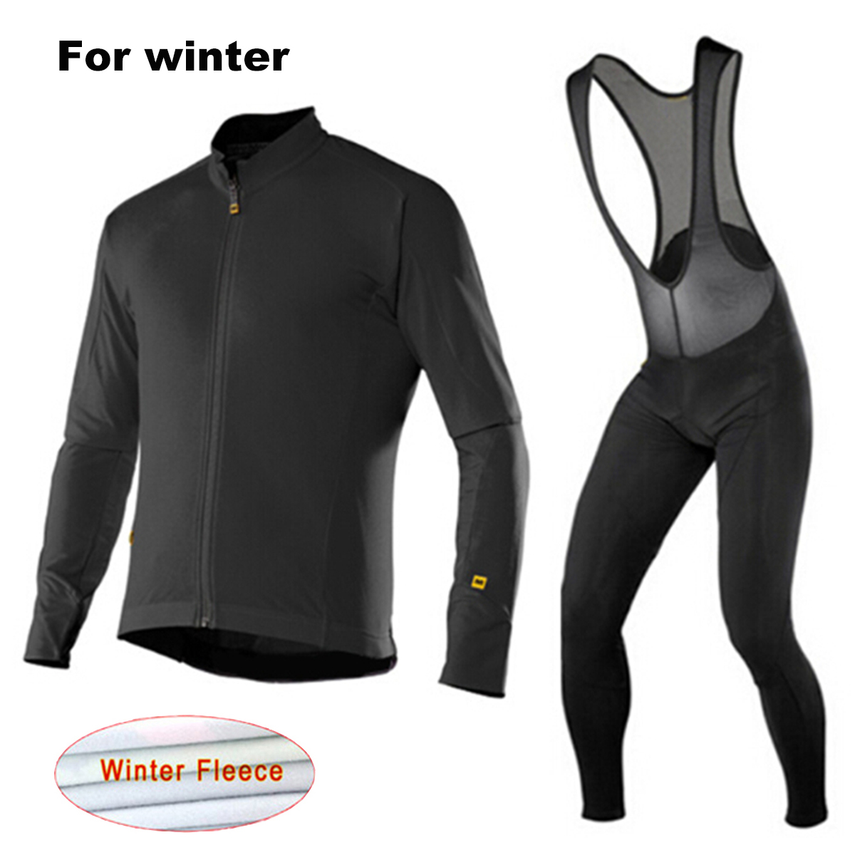 Mavic Winter Thermal Fleece Bicycle Clothing Bib Set Men`s Long Sleeves Cycling Jersey Warm Outdoor Sport Coat Suit 9D Gel Pad black thermal fleece cycling clothing winter fleece long adequate quality cycling jersey bicycle clothing cc5081