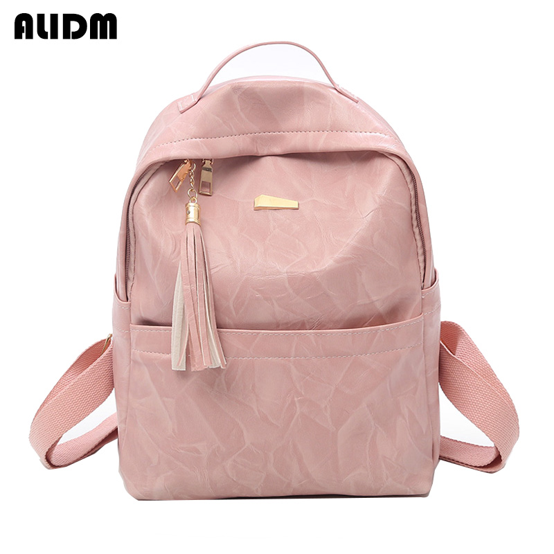Fashion Women Backpack High Quality Soft Leather Backpacks For Teenage Girls Female School Shoulder Bag Tassel Mochila Feminina