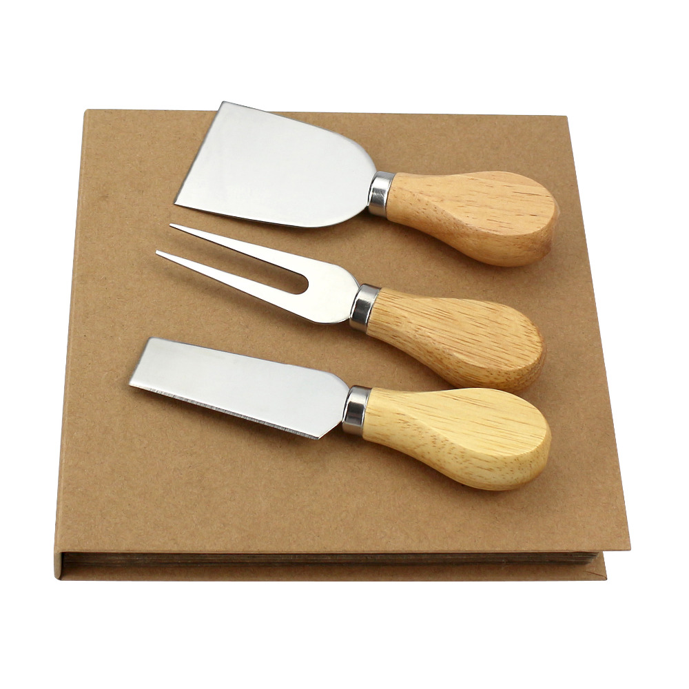 sunnecko 3pcs cheese knife set wood handle stainless steel blade cheese slicing cutter paper book - Cheese Knife Set