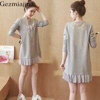 2019 Maternity Dresses Korean version of the printing of pregnant women dress fold fashion cotton pregnant women spring dress
