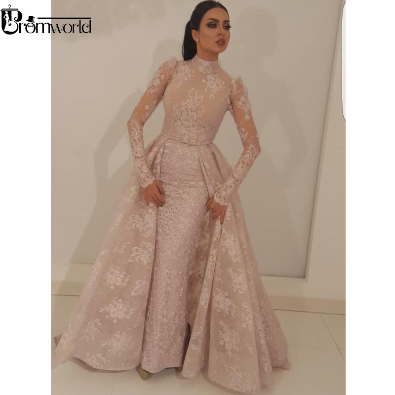 Muslim Evening Dress 2019 New Mermaid High Collar Illusion Long Sleeves Lace Dubai Saudi Arabic Long Evening Gown Robe De Soiree