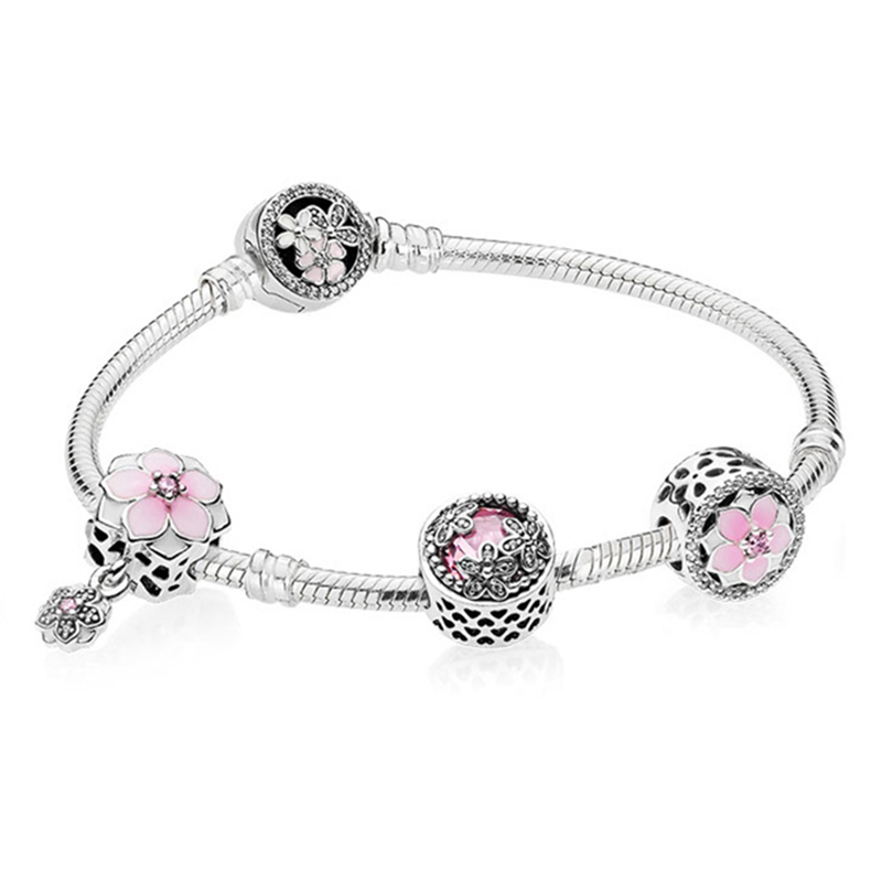 NEW Genuine 100% 925 Sterling Silver Bracelet For Set Europe Women Spring flowers Star Original birthday Gift charm JewelryNEW Genuine 100% 925 Sterling Silver Bracelet For Set Europe Women Spring flowers Star Original birthday Gift charm Jewelry