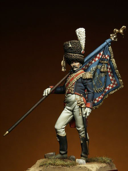 54mm The French Napoleon era elite infantry flag in hand M54008 napoleon in the alps 90 mm